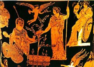 Ο μυθικός βασιλιάς της Αθήνας Κέκροπας, που ήταν μισός άνθρωπος και μισός φίδι και η Αθηνά μπροστά στην ελιά που φύτεψε στο βράχο της Ακρόπολης.